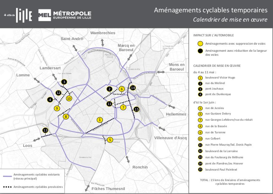 carte des voies cyclables lille